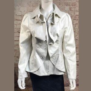 Sharon Young OffWhite Beige Jacket 10 Ruffle Brush
